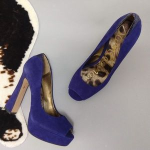 """Sam Edelman size 8.5 """"Tacoma"""" heels in blue suede"""